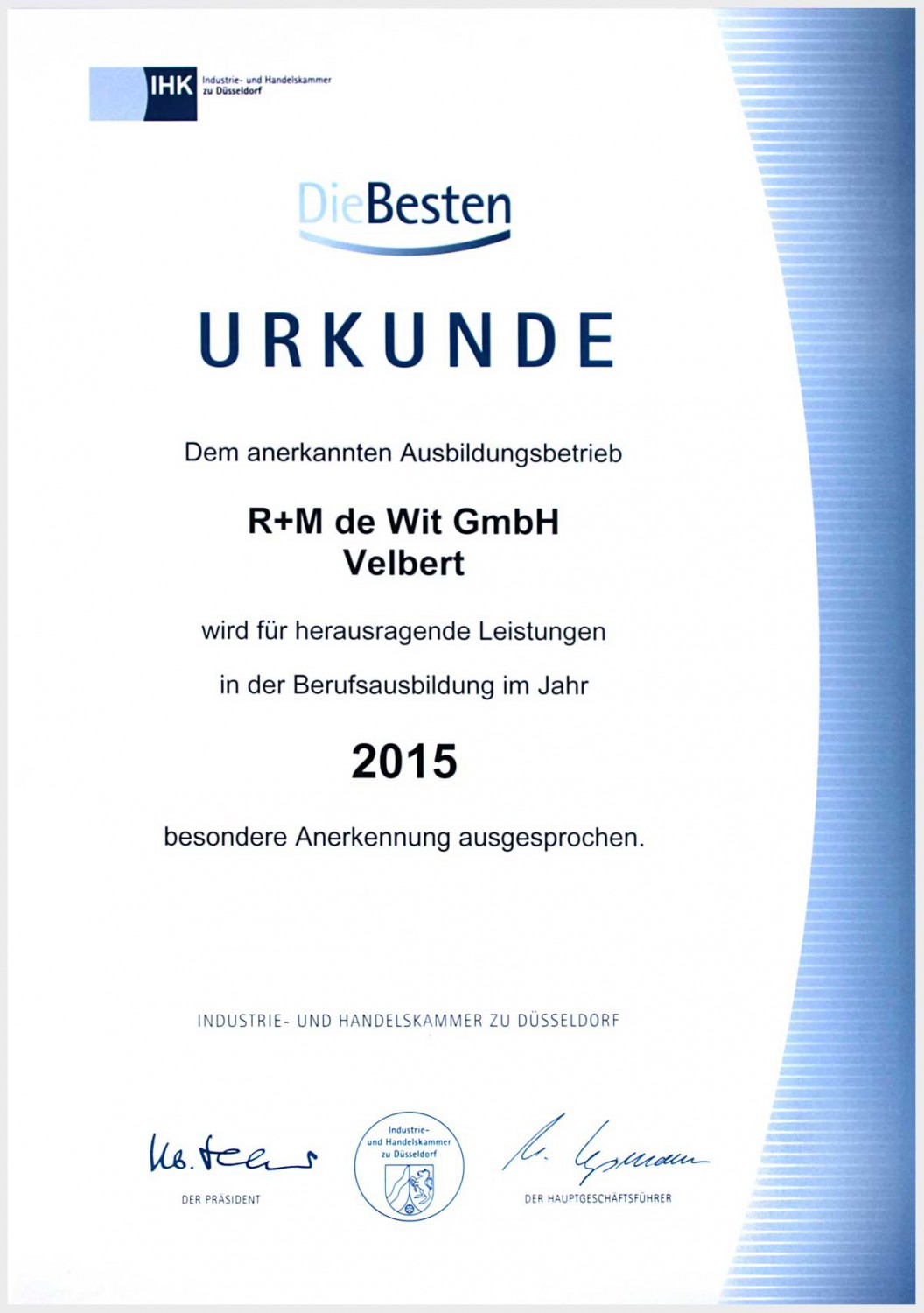 Certificate for the training company R+M de Wit