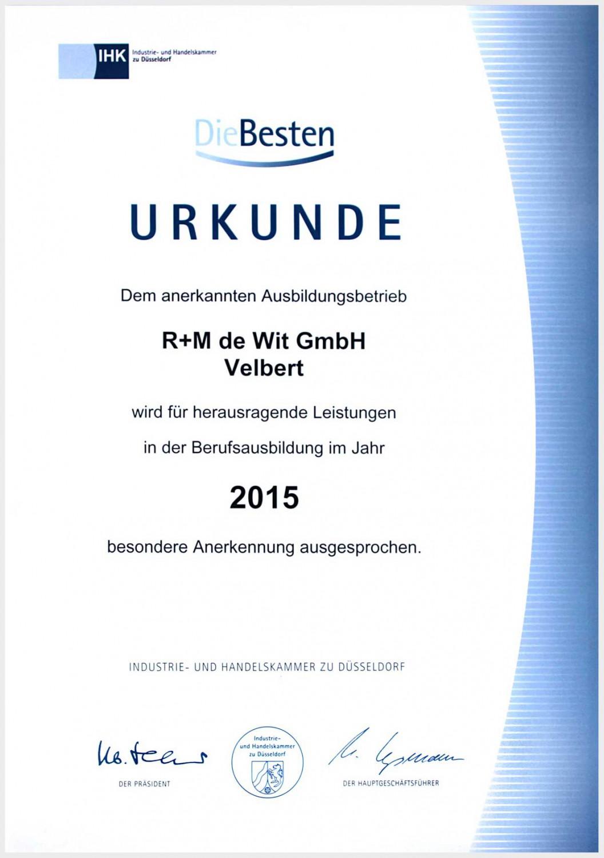 Urkunde für den Ausbildungsbetrieb R+M de Wit für herausragende Leistungen