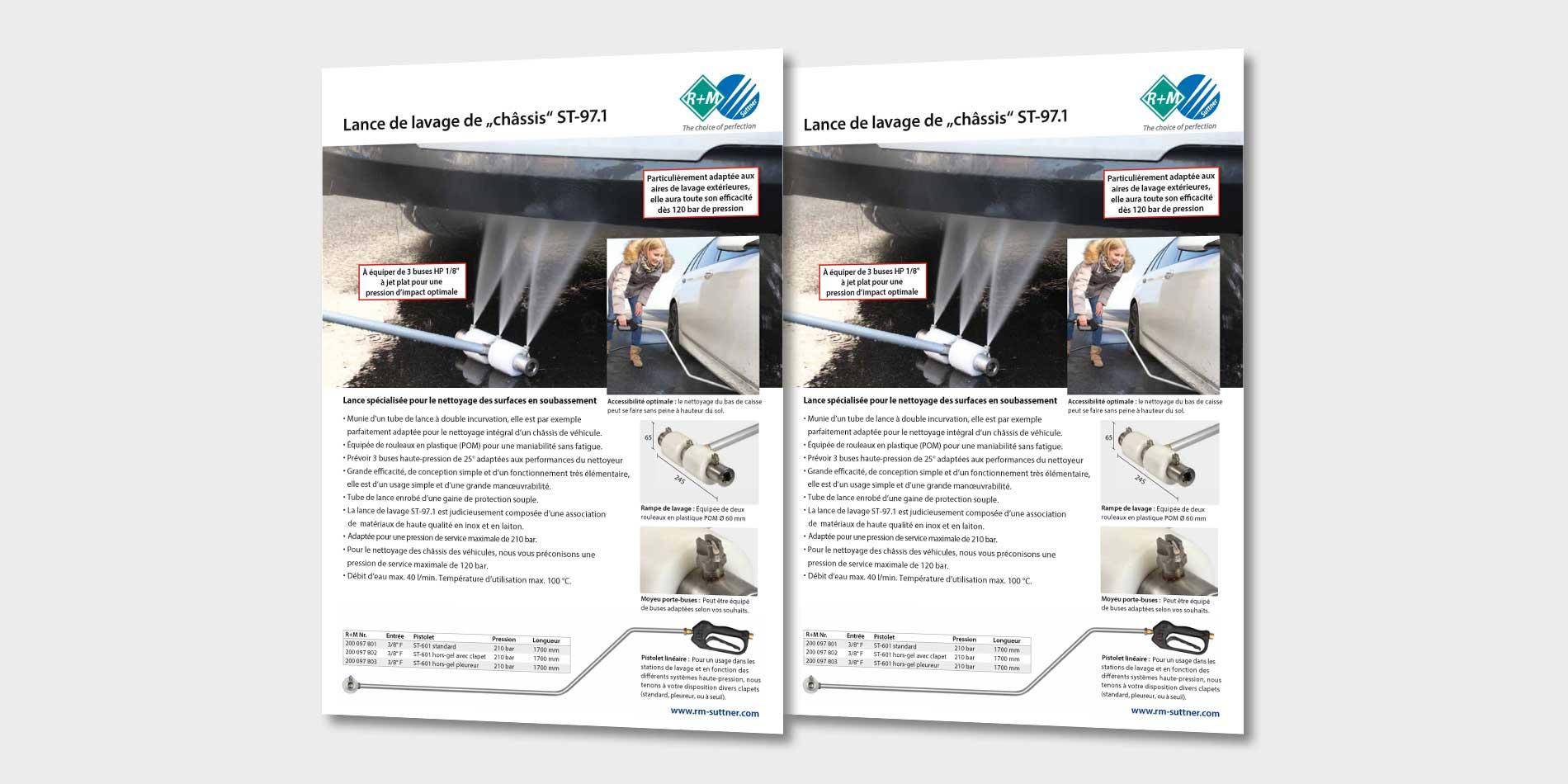 """Lance de lavage de """"châssis"""" ST-97.1. Lance spécialisée pour le nettoyage des surfaces en soubassement."""
