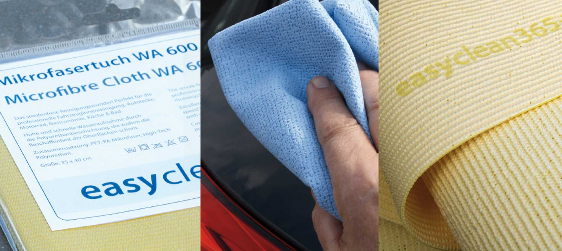 """easyclean365+ microfibre cloths by R+M / Suttner. According to the principle """"completely clean with only one wipe""""."""