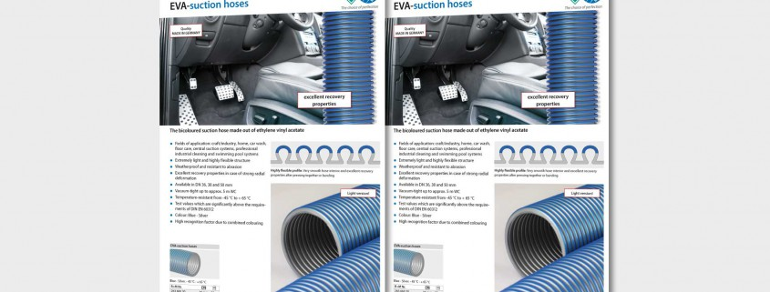 The bicoloured suction hose made out of ethylene vinyl acetate