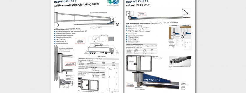 High pressure wall boom extension with ceiling boom and ceiling boom including high pressure hose for walls and ceiling