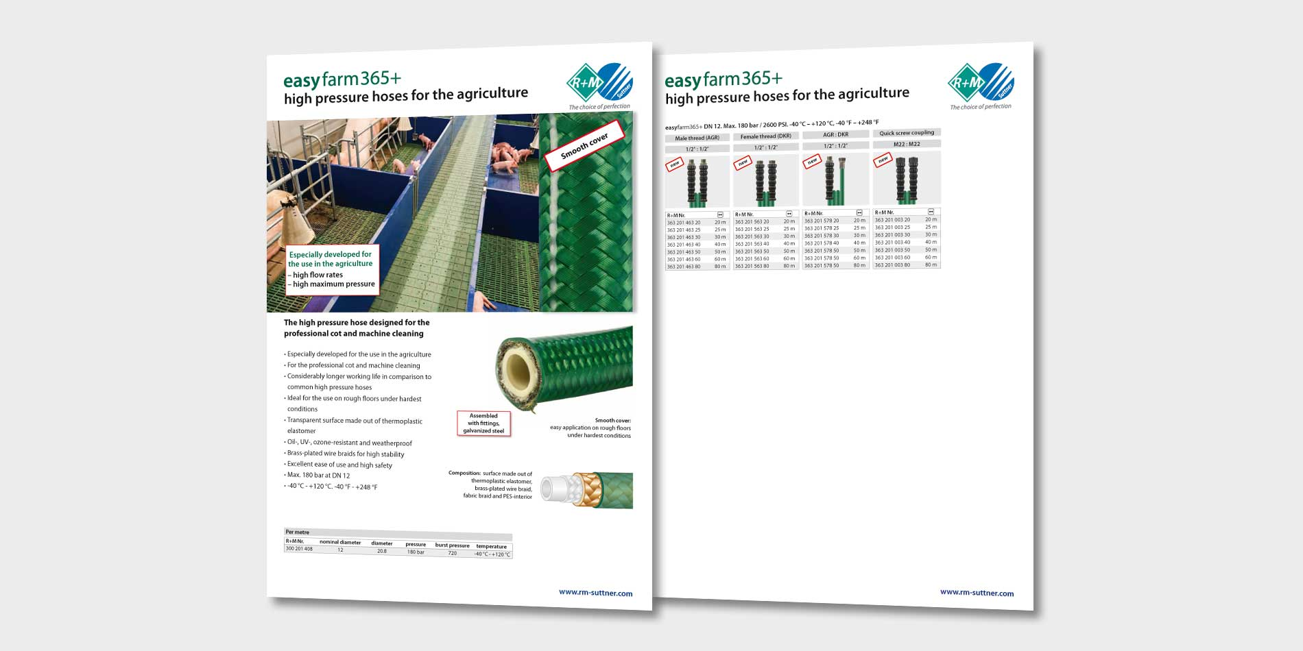 The high pressure hose designed for the professional cot and machine cleaning
