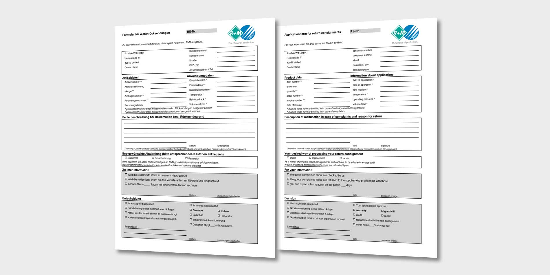 Formular für Warenrücksendungen / Application form for return consignments