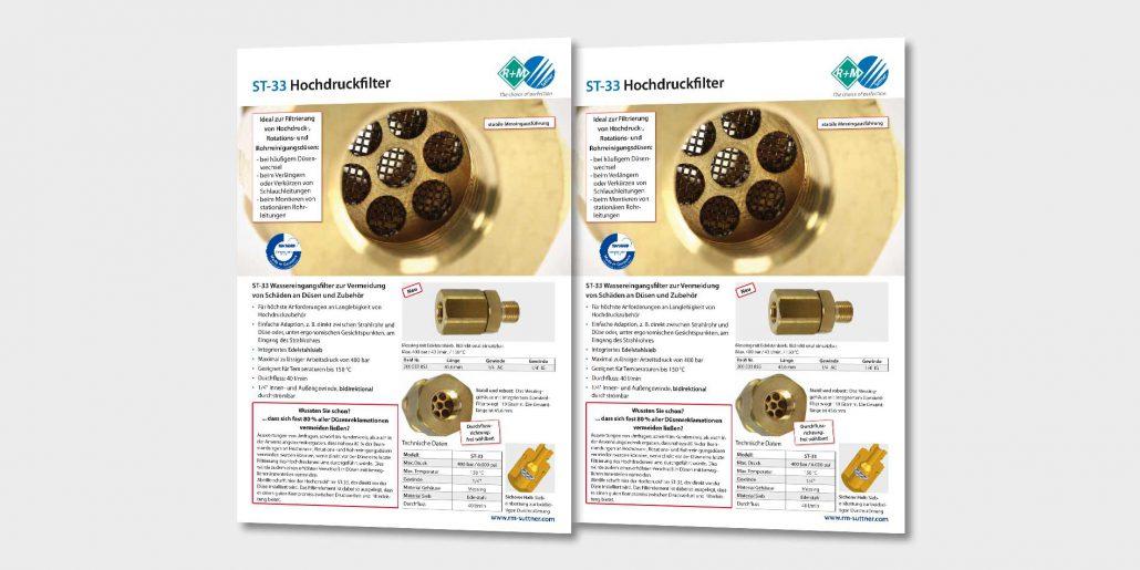ST-33 Hochdruckfilter zur Vermeidung von Schäden an Düsen und Zubehör