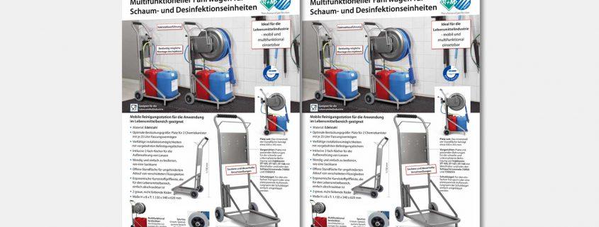 Mobiler und multifunktioneller Reinigungs-Fahrwagen für die Anwendung im Lebensmittelbereich geeignet