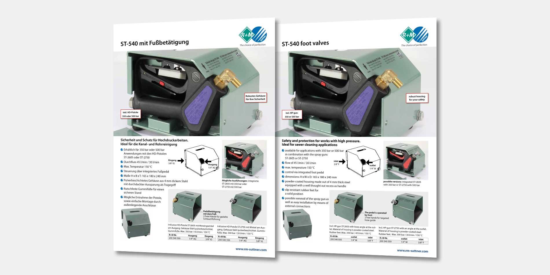 Für DE und UK. Fußschalter ST-540 für Ihre Sicherheit und den Schutz bei der Hochdruckreinigung