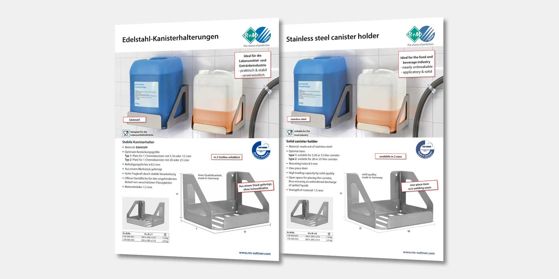 Edelstahl-Kanisterhalterungen von R+M / Suttner erhöhen die Sicherheit am Arbeitsplatz