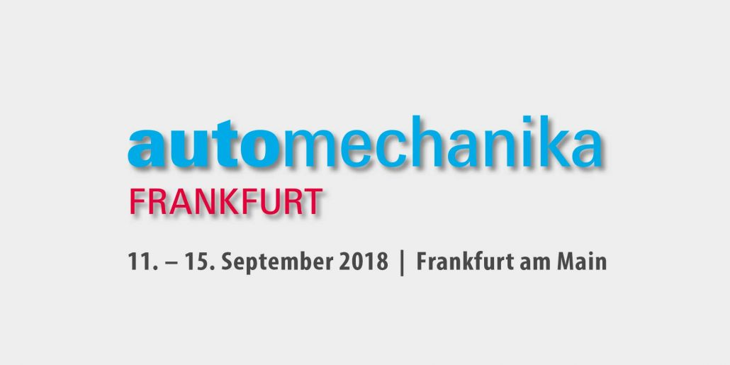 Messankündigung für die automechanika in Frankfürt.