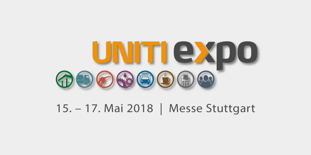 Messankündigung für die Uniti expo in Stuttgart.