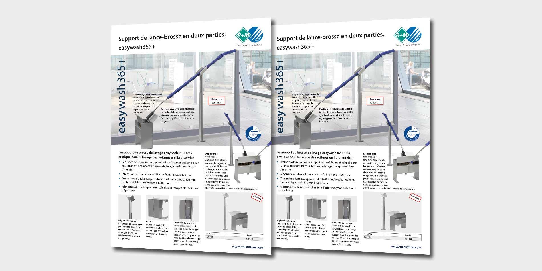Support de lance-brosse en deux parties, easywash365+
