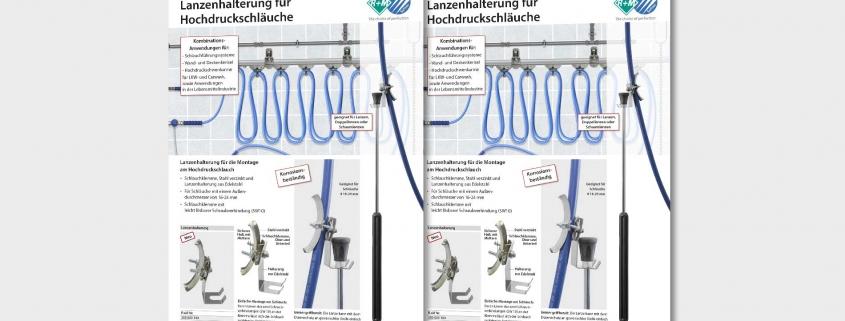 Halterung für Lanzen, zur Montage an Hochdruckschläuchen