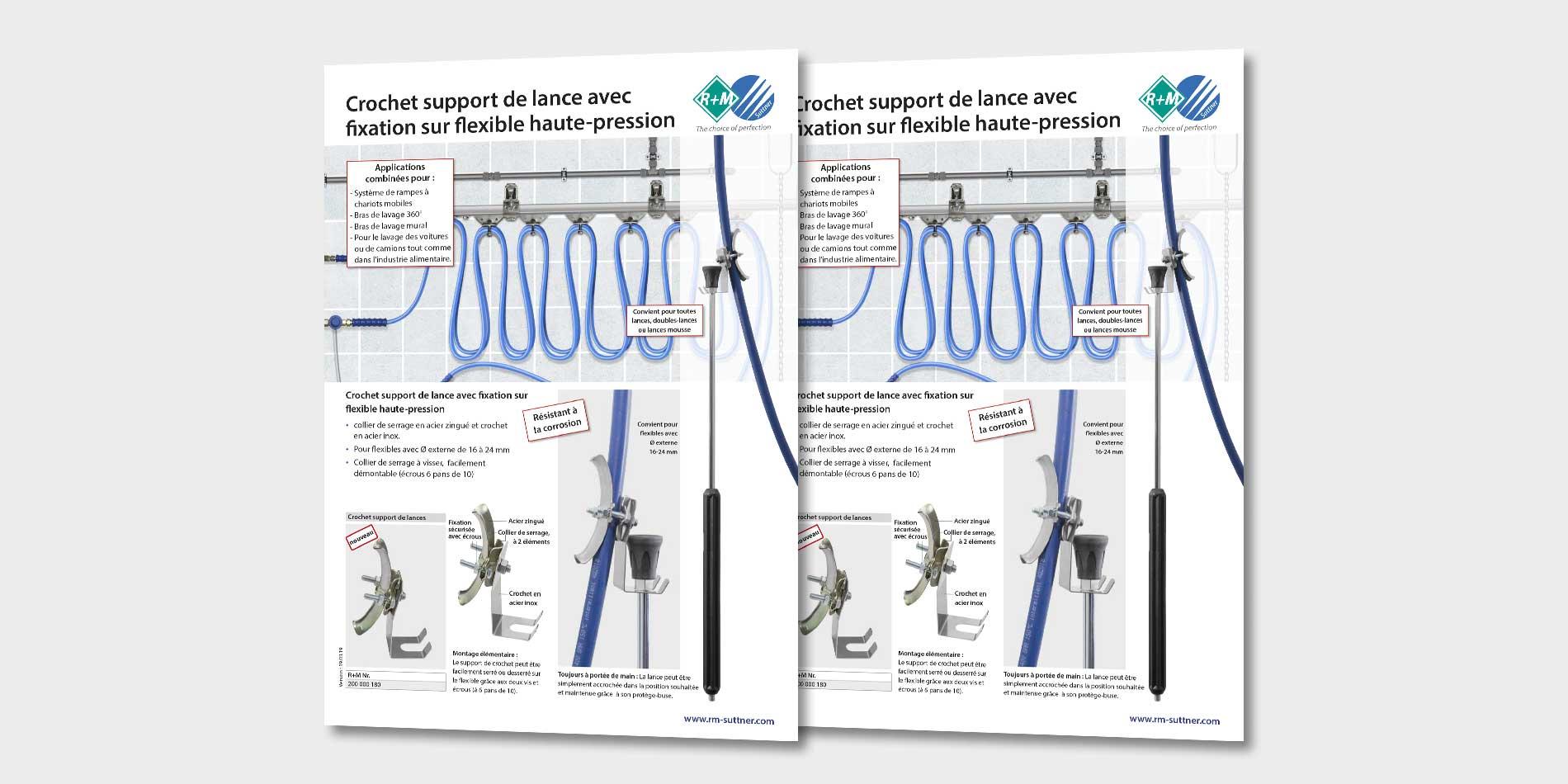 Crochet support de lance avec fixation sur flexible haute-pression