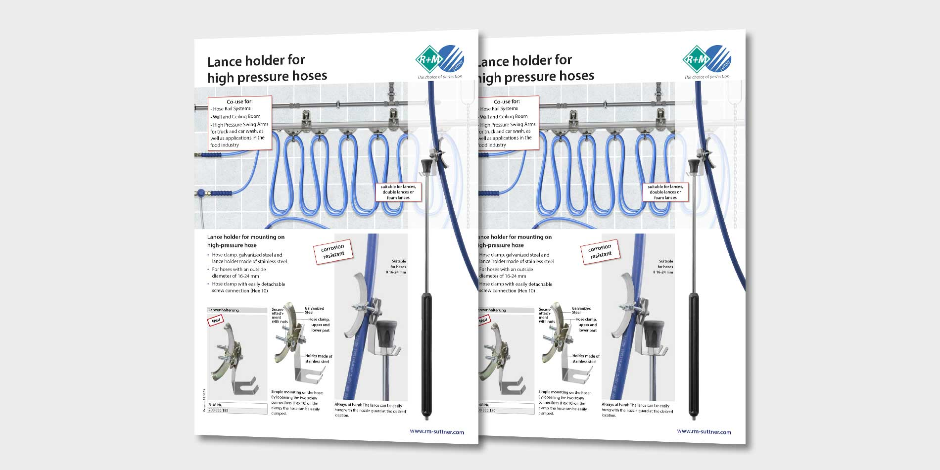 Holder for lances at high pressure hoses