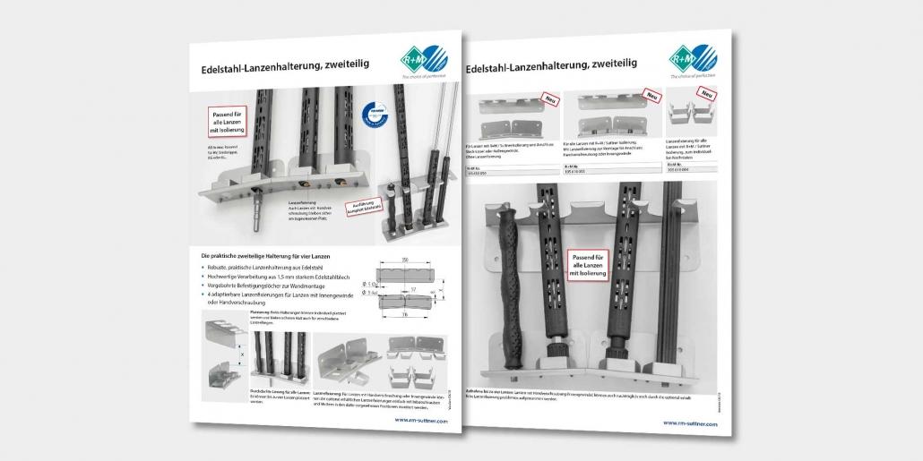 Lanzenhalterung aus Edelstahl mit Nachrüstsatz für Lanzenfixierung mit Innengewinde oder Handverschraubung