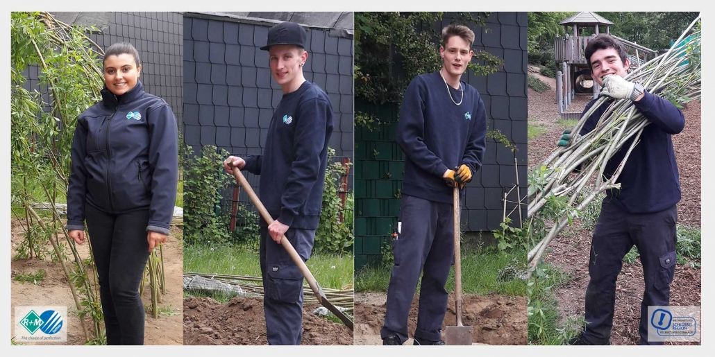R+M de Wit Azubis beim Aktionstag der Schlüsselregion Velbert für gemeinnützige Projekte aus der Region.  |  R+M de Wit apprentices participated in the day of action of the association Schlüsselregion e.V. in Velbert for charity projects in the region.