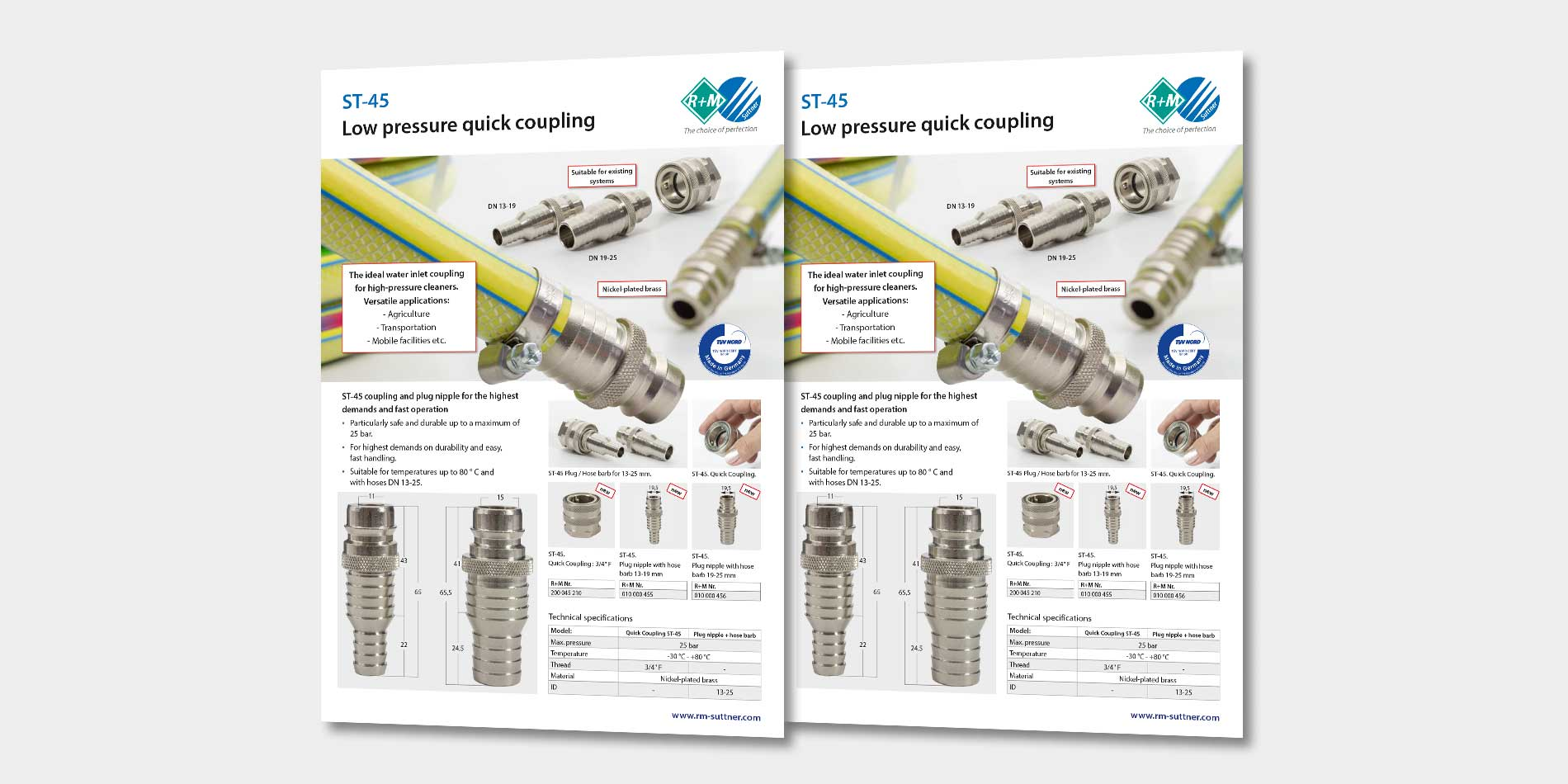 Low pressure quick coupling ST-45