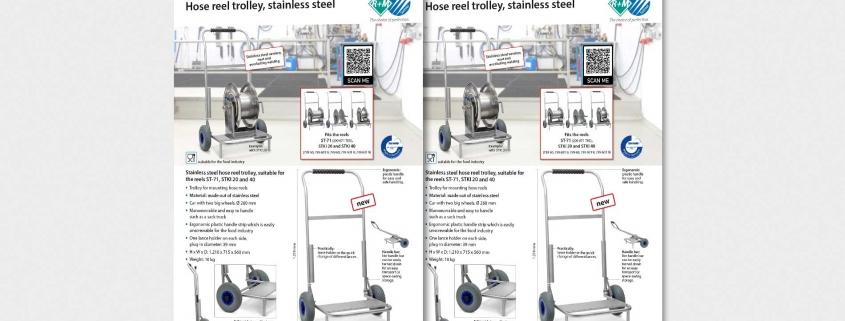 Hose reel trolley, stainless steel